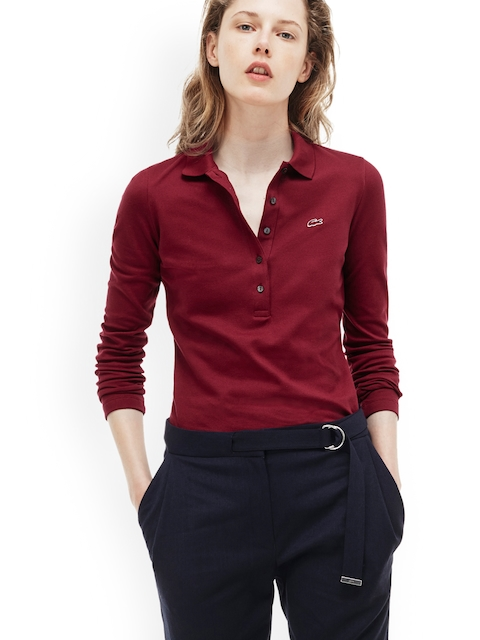 Lacoste Women Maroon Solid Polo Collar T-shirt