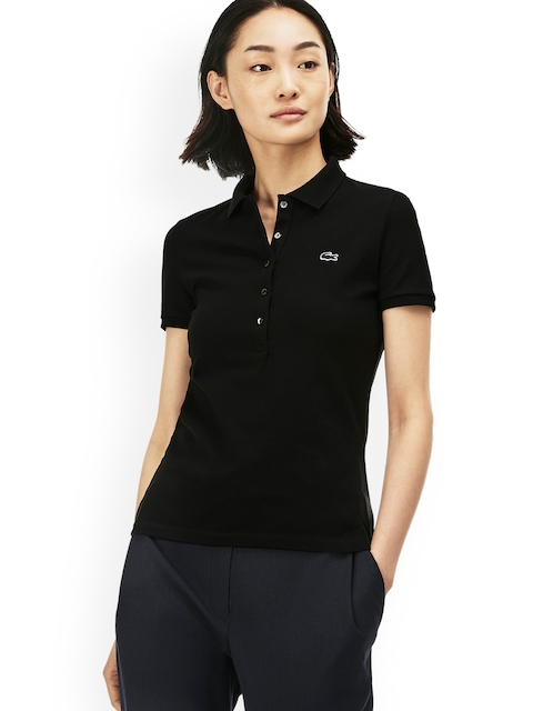 Lacoste Women Black Solid Polo Collar T-shirt