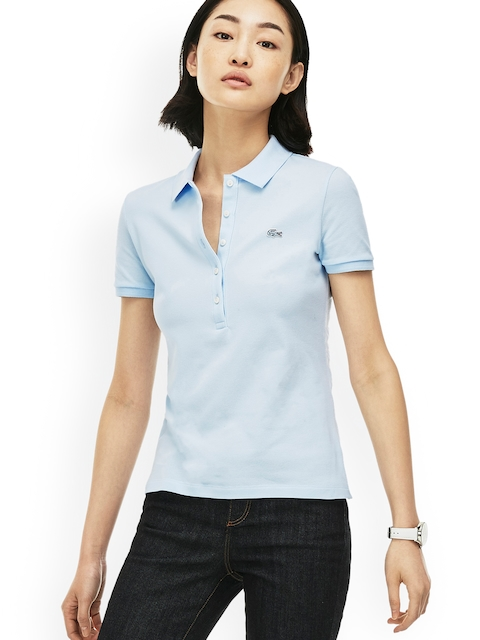 Lacoste Women Blue Solid Polo Collar T-shirt
