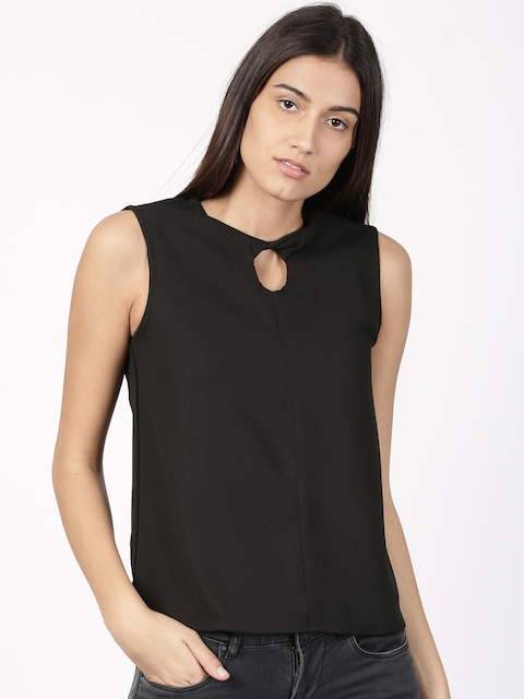 ether Women Black Solid Top