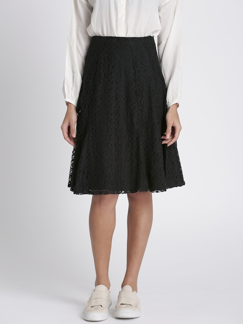 Chemistry Black A-line Lace Skirt