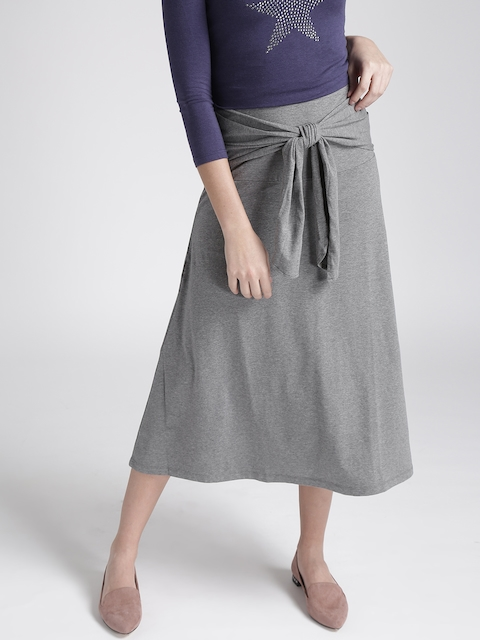 Chemistry Grey Melange Midi A-line Skirt with Front Tie-Up