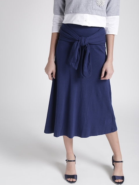 Chemistry Navy Midi A-line Skirt with Front Tie-Up