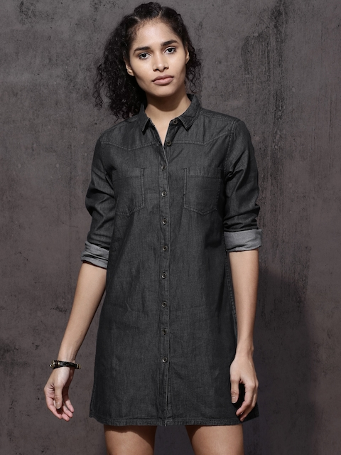 Roadster Women Black Solid Shirt Dress