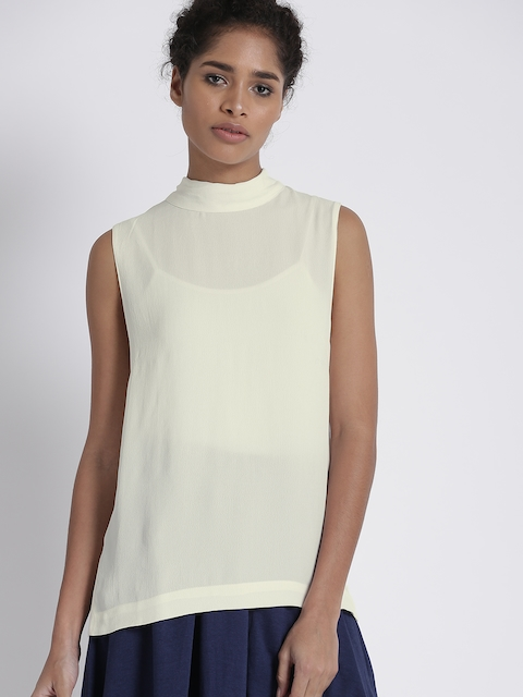 Chemistry Women Off-White Solid Sheer Top