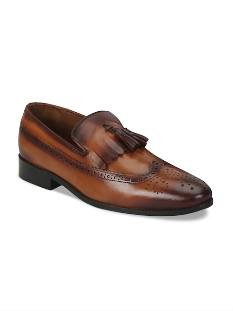 BRUNE Men Tan Brown Genuine Leather Semiformal Shoes