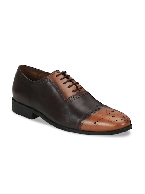 BRUNE Men Black & Brown Genuine Leather Oxford Shoes