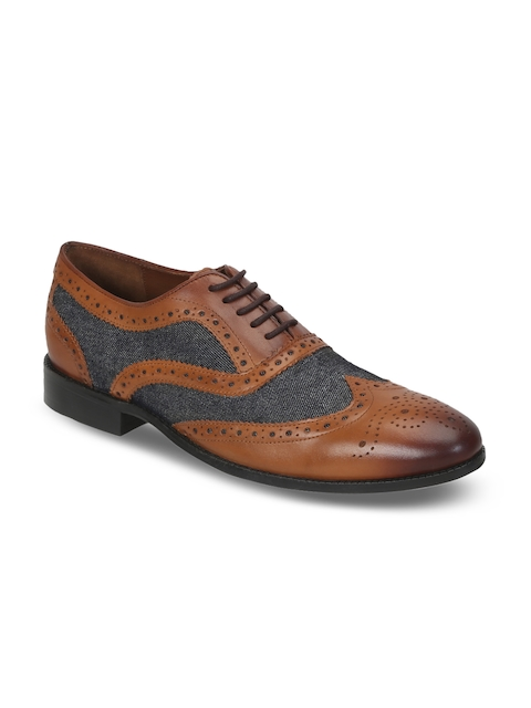 BRUNE Men Tan Brown Genuine Leather Formal Brogues