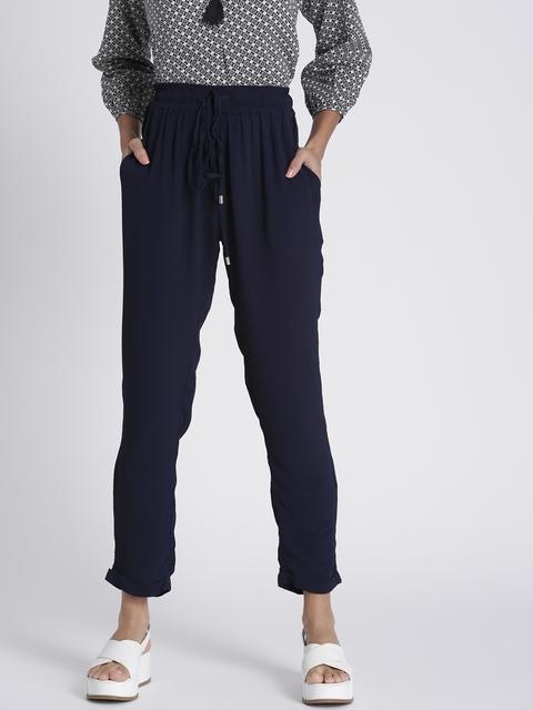 Chemistry Women Navy Blue Regular Fit Solid Regular Trousers