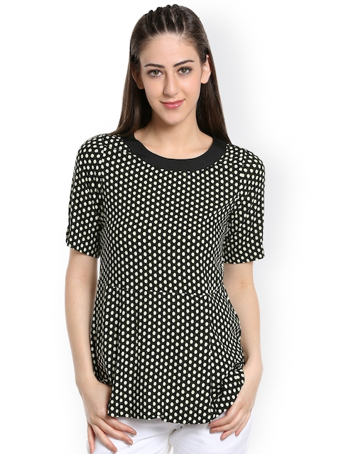 109F Women Black Polka Dot Print A-Line Top