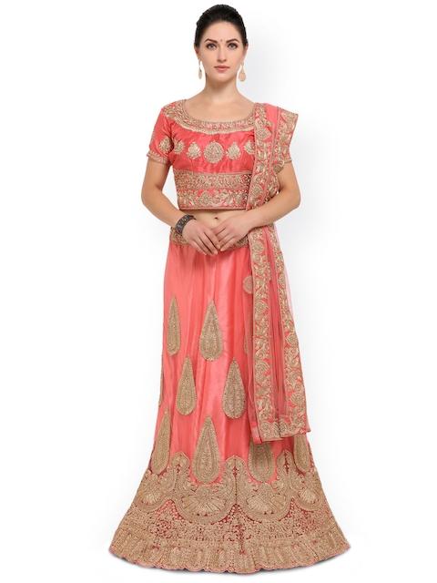 Induss Pink Embellished Semi-Stitched Lehenga Choli