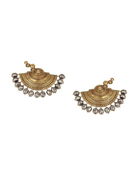 CONFLUENCE Crystals from SWAROVSKI JJ Valaya Ranas of Kachch Half Circle Earrings