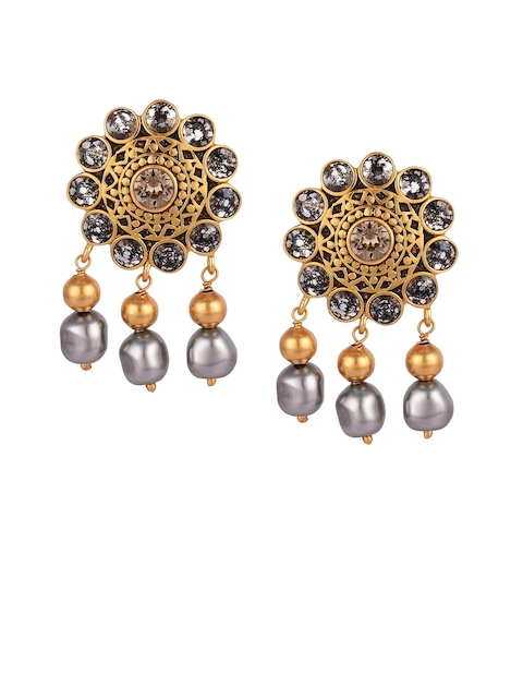 CONFLUENCE Crystals from SWAROVSKI JJ Valaya Ranas of Kachch Flower Drop Earrings