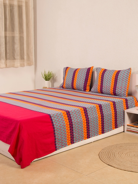 House This Multicoloured Printed Cotton Double Bed Cover with 2 Pillow Covers