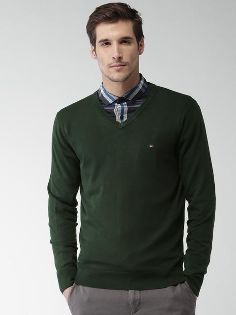 Tommy Hilfiger Men Green Solid Pullover
