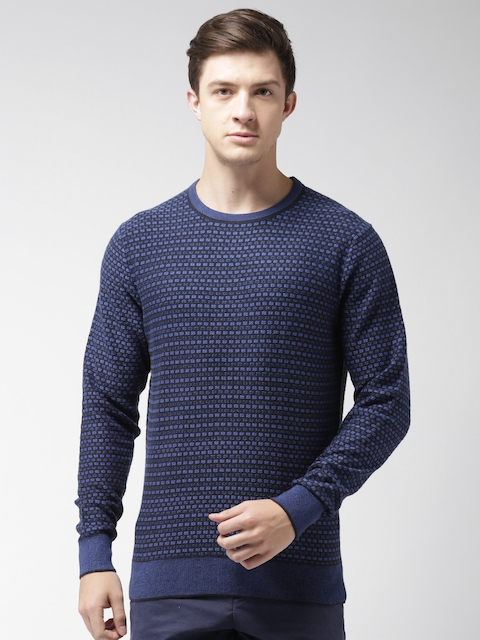 Tommy Hilfiger Men Black & Blue Self Design Pullover