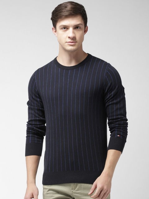 Tommy Hilfiger Men Black & Blue Striped Pullover