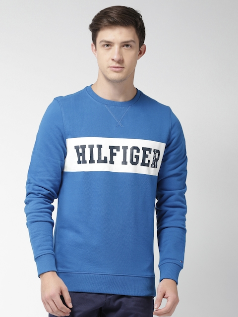 Tommy Hilfiger Men Blue Printed Sweatshirt