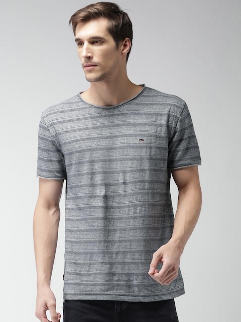Tommy Hilfiger Men Blue Self-Design Round Neck T-shirt
