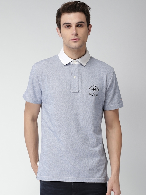 Tommy Hilfiger Men Blue Self Design Polo T-shirt