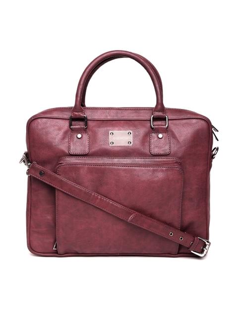 Gauge Machine Unisex Burgundy Handcrafted Laptop Bag with Sling Strap