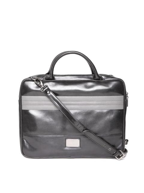 Gauge Machine Unisex Black Handcrafted Laptop Bag with Sling Strap