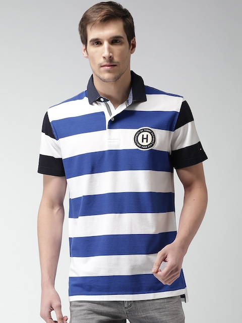 Tommy Hilfiger Men White & Blue Striped Polo Collar T-shirt