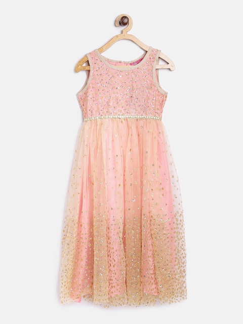 Biba Girls Pink & Gold-Toned Solid A-Line Dress