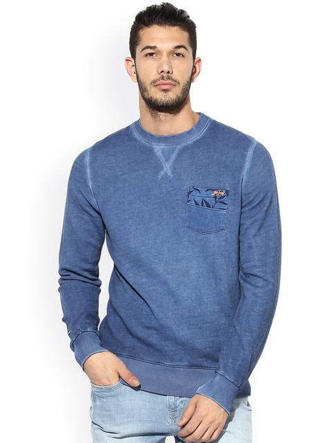 Jn Joy Men Blue Solid Sweatshirt