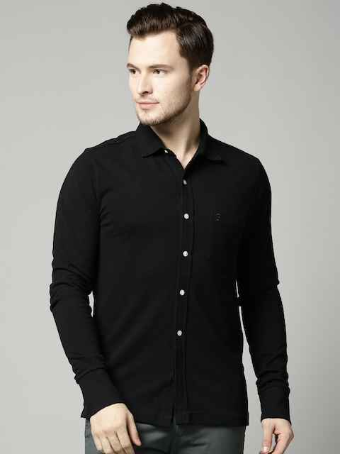 French Connection Men Black Solid Casual Shirt