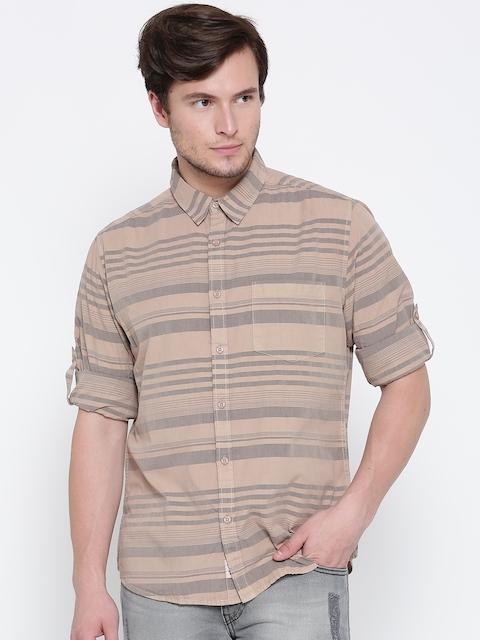 Roadster Men Beige & Grey Striped Casual Shirt