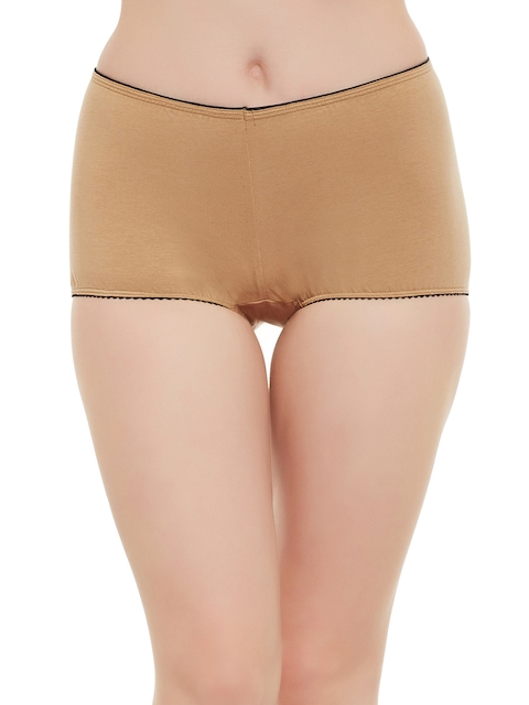 Clovia Women Nude-Coloured High-Rise Boyshorts PN1478P2