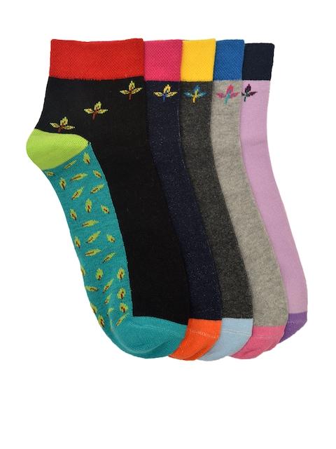 MARC Women Pack of 5 Patterned Ankle-Length Socks