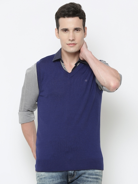 Louis Philippe Men Blue Solid Sleeveless Sweater