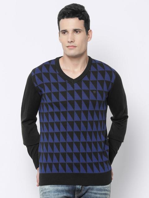 Louis Philippe Men Blue & Brown Self-Design Sweater