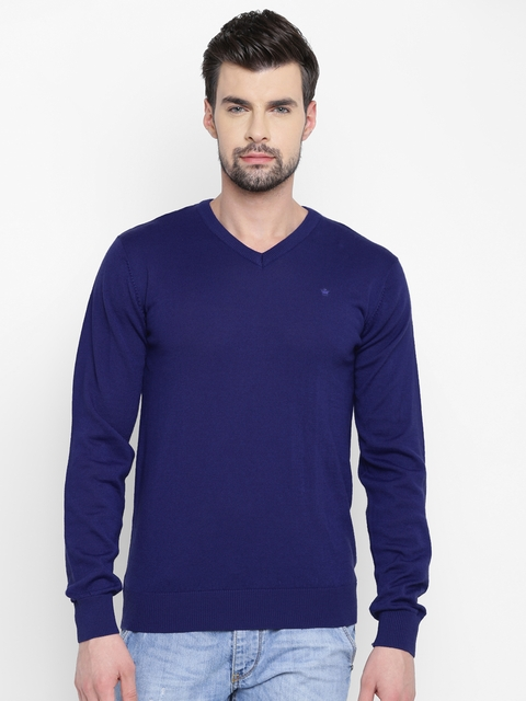 Louis Philippe Men Blue Solid Sweater