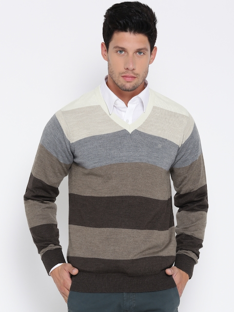 Louis Philippe Men Brown & Grey Melange Striped Pullover