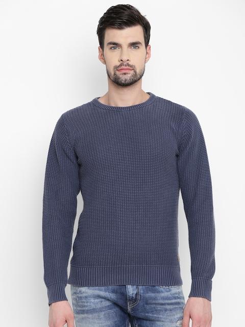 Louis Philippe Jeans Men Blue Self-Design Sweater