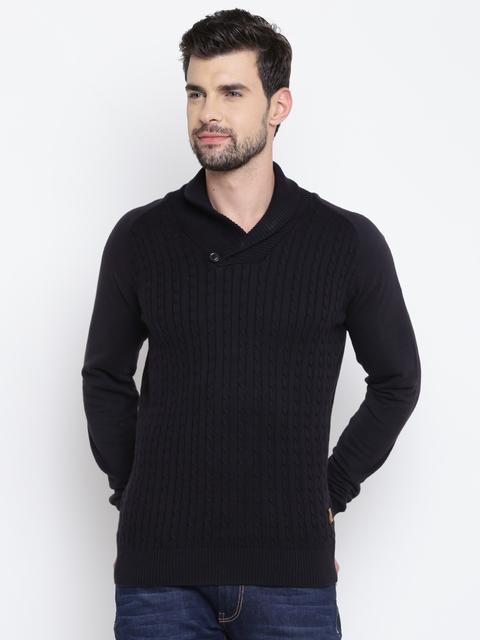 Louis Philippe Jeans Men Black Self-Design Sweater