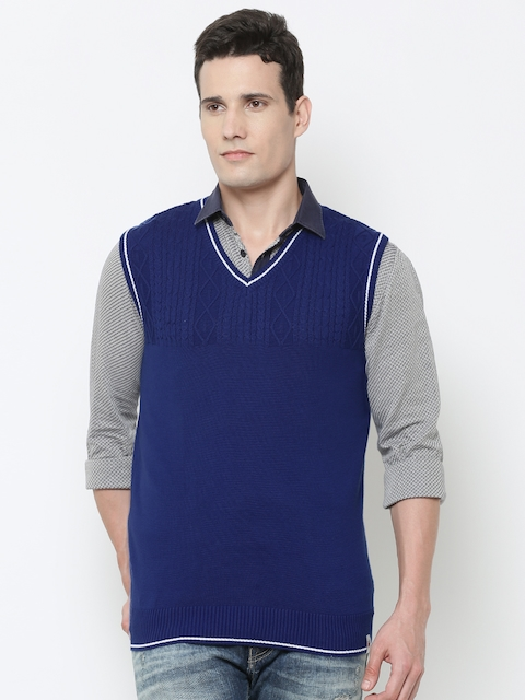 Louis Philippe Sport Men Blue Self-Design Sleeveless Sweater