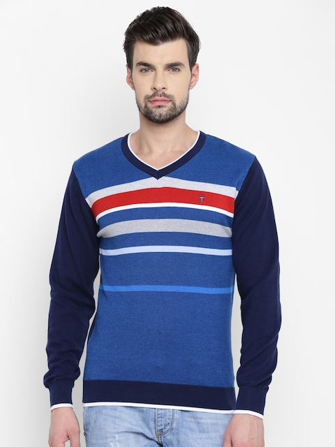 Louis Philippe Sport Men Blue Striped Sweater