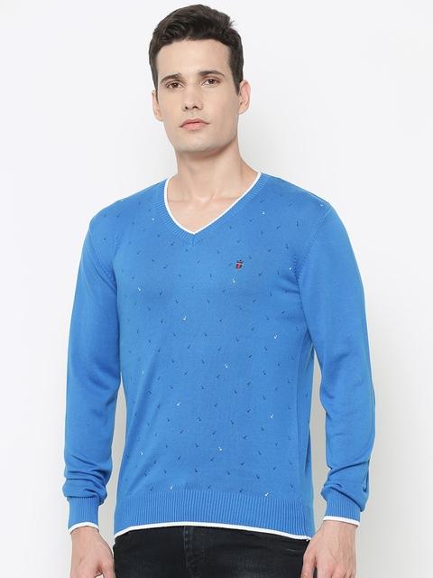 Louis Philippe Sport Men Blue Anchor Print Sweater