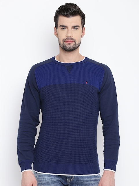 Louis Philippe Sport Men Blue Self Design Sweater