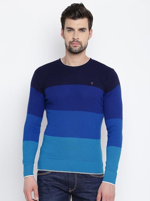 Louis Philippe Sport Men Blue Colourblocked Pullover