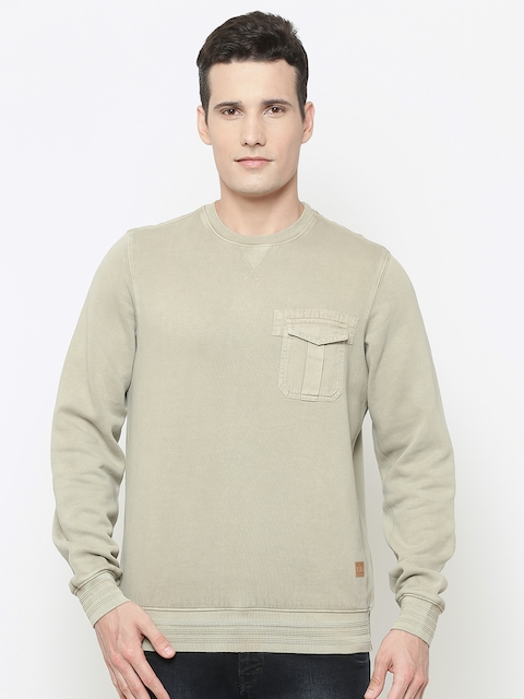 Louis Philippe Jeans Men Beige Solid Sweatshirt