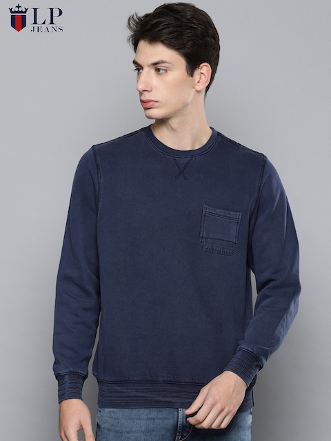Louis Philippe Jeans Men Blue Solid Sweatshirt