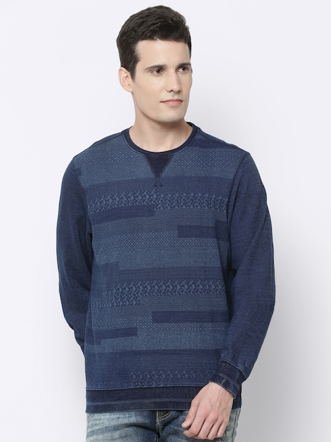 Louis Philippe Jeans Men Blue Printed Sweatshirt