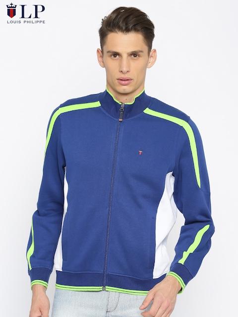 Louis Philippe Sport Men Blue & White Colourblocked Sweatshirt
