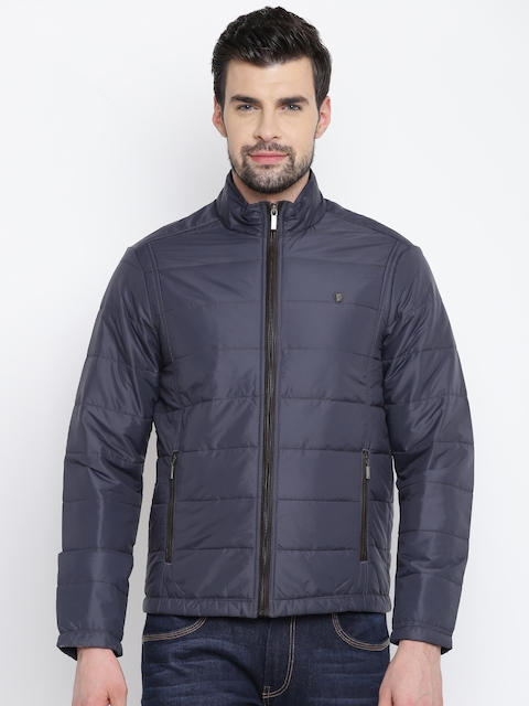 Louis Philippe Men Navy Solid Quilted Jacket