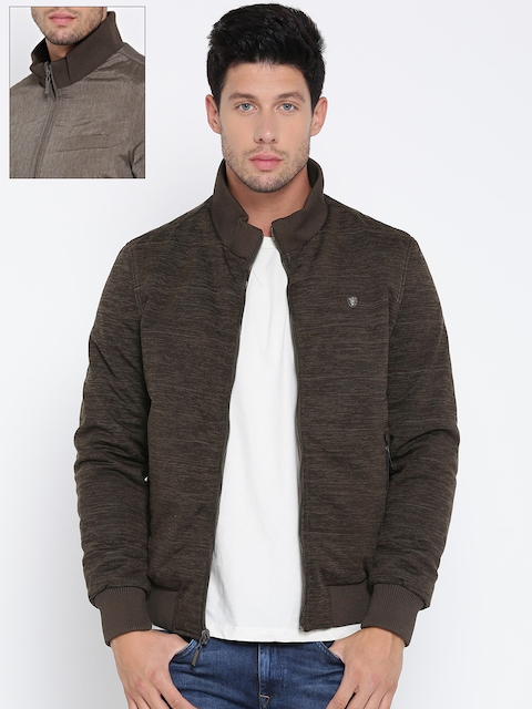 Louis Philippe Men Olive Green & Grey Solid Reversible Bomber Jacket